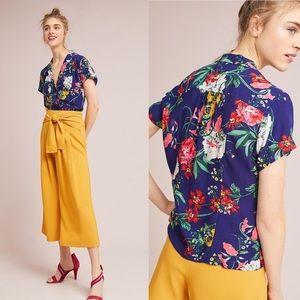 Anthropologie Maeve tie waist floral top size 4